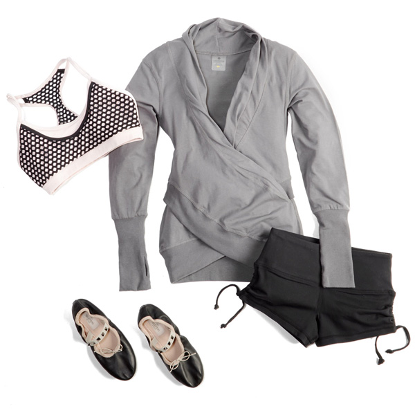ballet workout outfits: ruched & wrapped