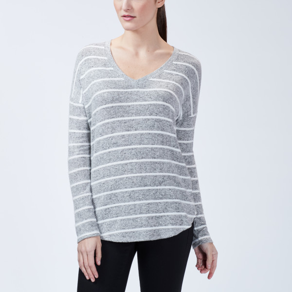 1c345ee41 Striped Intermingle V-Neck Long Sleeve Heather Grey/White | Wantable