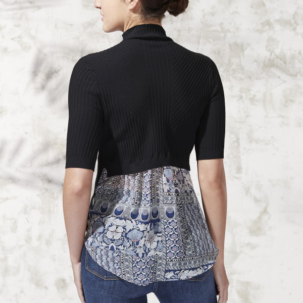 Short Sleeve Mock Neck Sweater Top Black Wantable