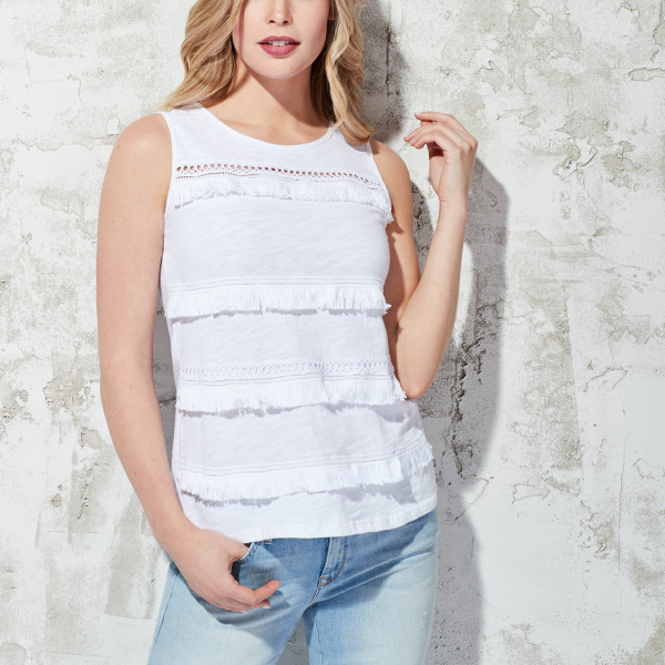 da4f641caafa7 Sleeveless Fringe Top White