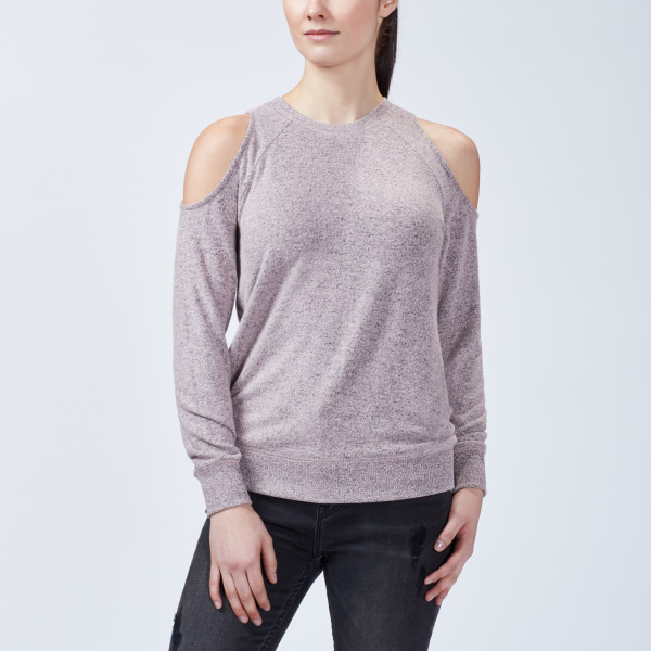 7e4dec3fc3e Marled Cold Shoulder Top Silver Pink | Wantable