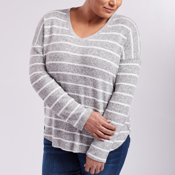 a8274bdd5 Striped V-Neck Long Sleeve Top Heather Grey/White | Wantable