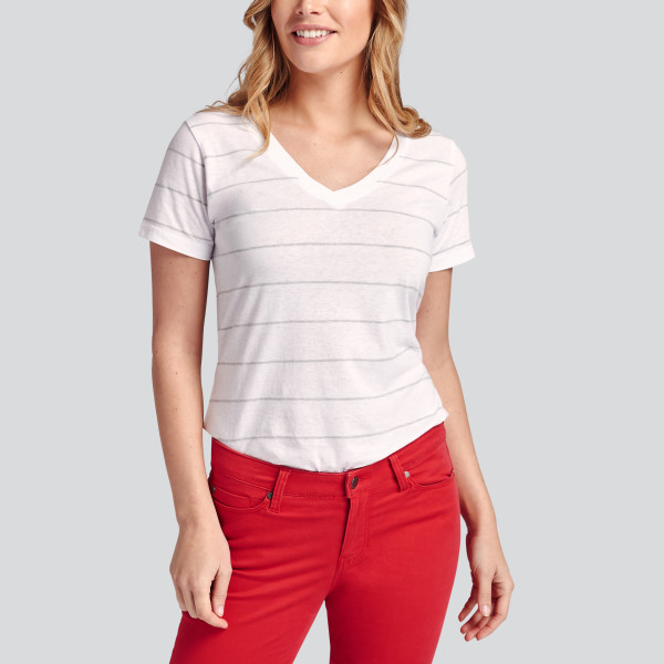 ec3dd16bca Ultimate Mini Stripe Tee in White/Heather Grey | Wantable