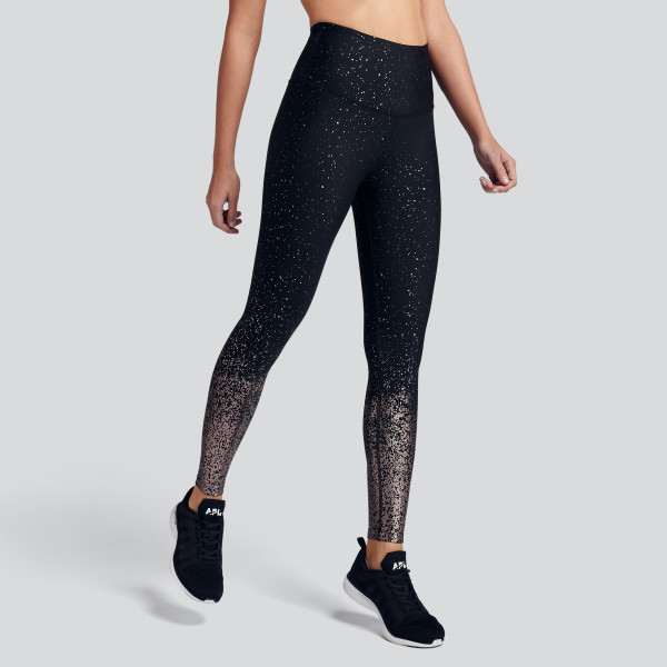 2bcb360462 Alloy Ombre High Waist Midi Legging in Black Gunmetal Speckle. Beyond Yoga