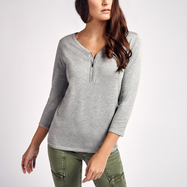 Meira Zipper Pull Sweater in Grey  2bd91974d