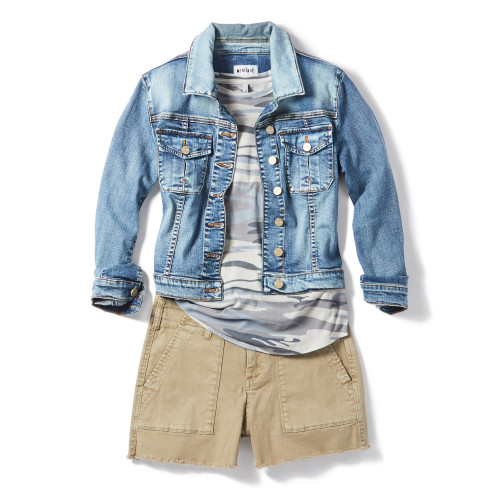 Denim Jacket + Chino Shorts