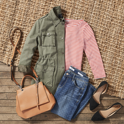 Dressy Casual Dress Code: Utility Jacket + Striped Top + Jeans