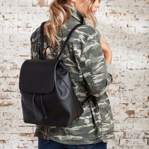 Utility Jackets & Cargo Pants: Faux Leather Backpack