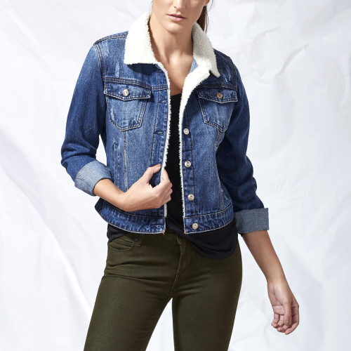 fall and winter essentials: sherpa denim jacket