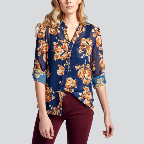 fall and winter essentials: printed button-down shirt