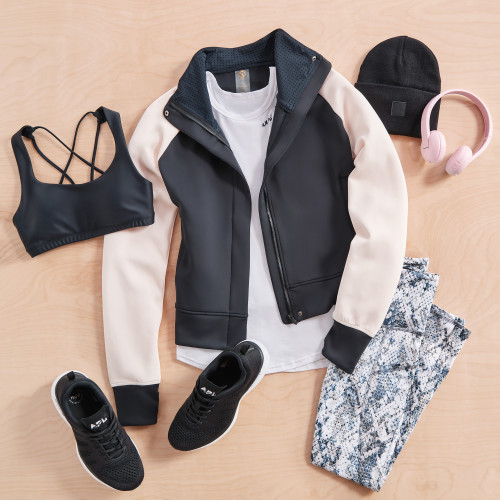 athleisure workout activewear bomber jacket