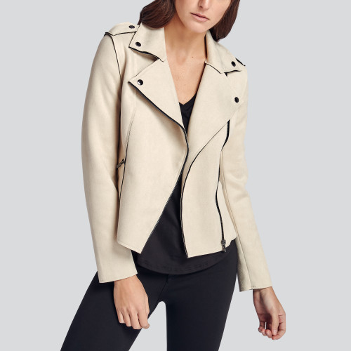 winter to spring: cream moto jacket