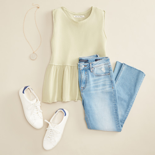 green outfits: green tank
