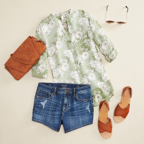 green outfits: green floral blouse