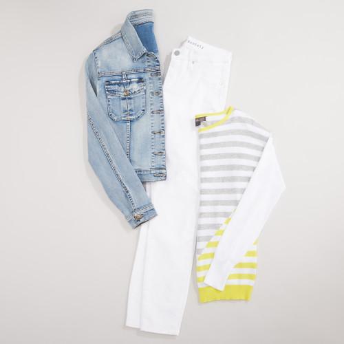 white denim: bold stripes