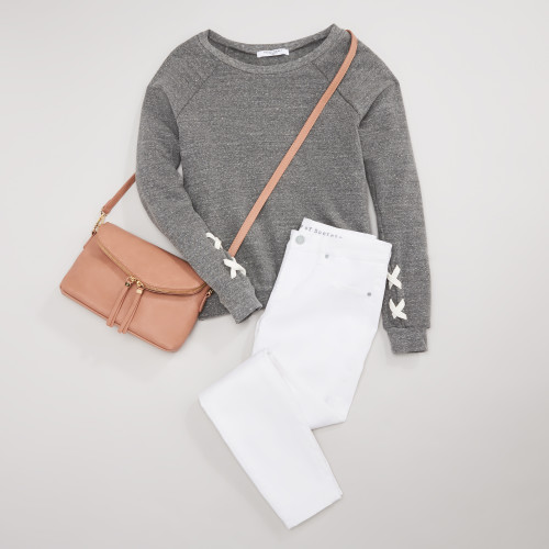 white jeans: polished pullover
