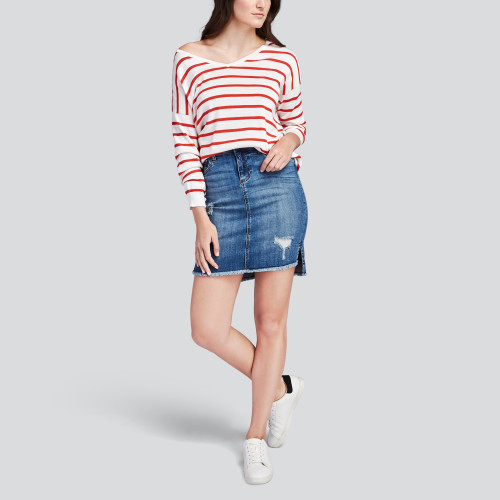 striped sweater: denim skirt