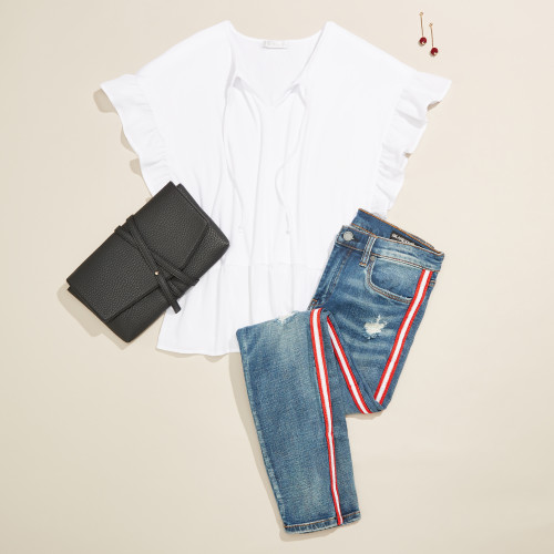 cute outfit: white blouse and denim