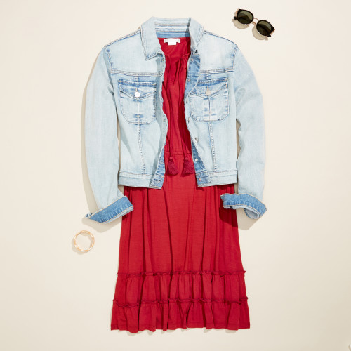 cute outfit: dress with denim jacket