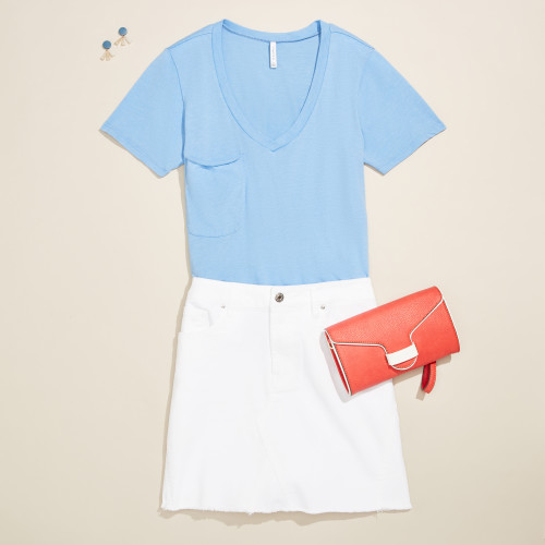 cute outfit: denim skirt with tee