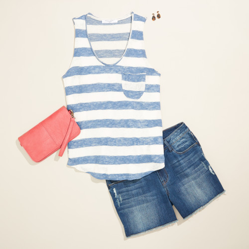 cute outfit: striped tank with shorts