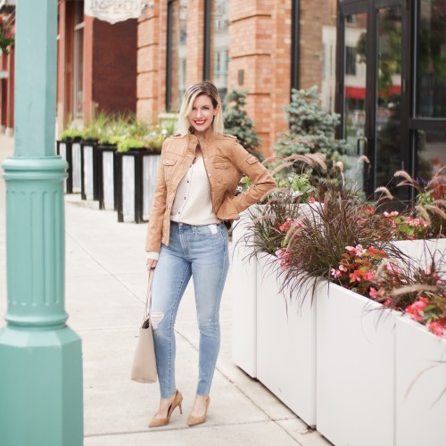 how to dress in your 40s: utility jacket and jeans
