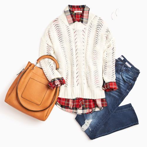 plaid outfits: plaid button down