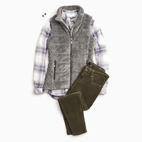 plaid outfits: cozy vest