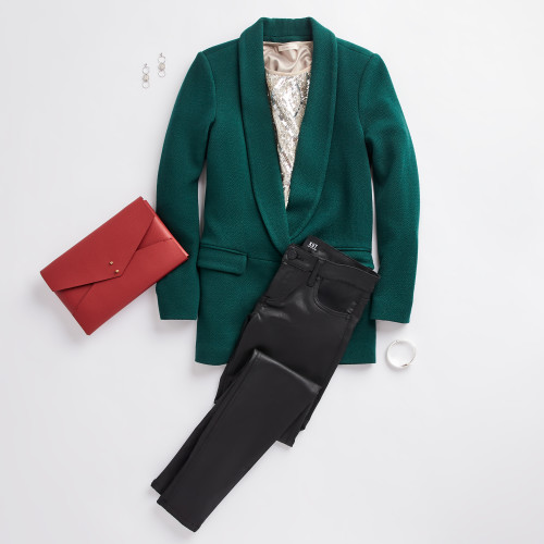 holiday party: colored blazer