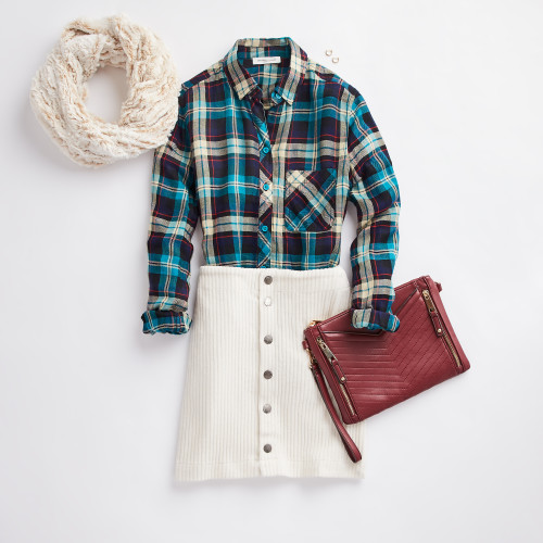 holiday party: button-up plaid