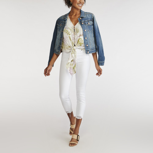 resort wear: white denim