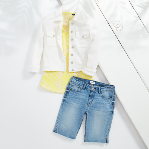 vacation outfits: white denim jacket & bermuda shorts
