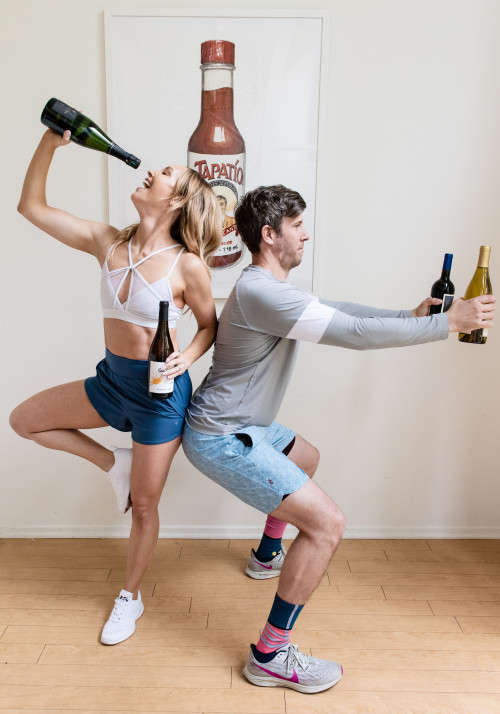 partner workouts: wine bottle weights