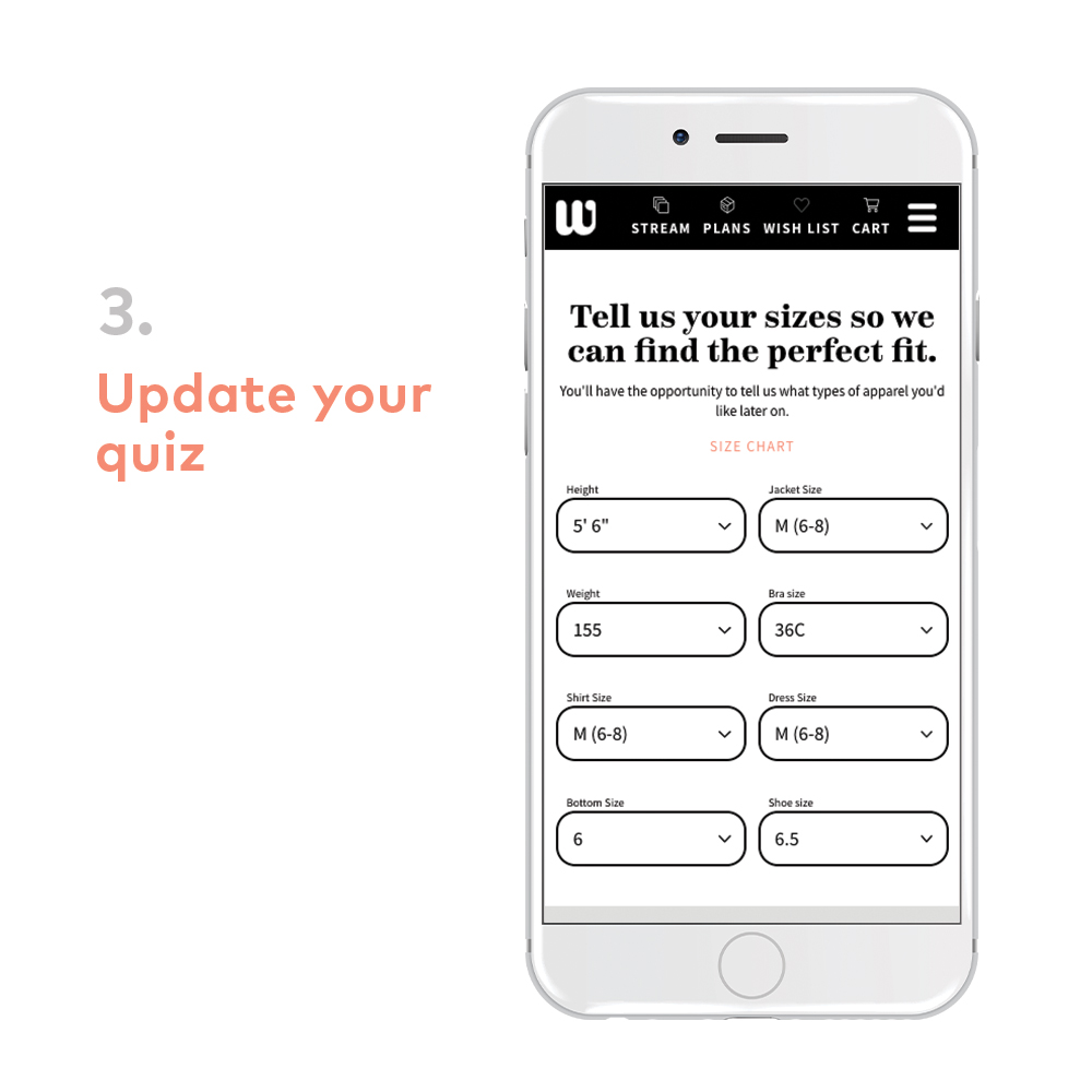 Wantable quiz: update style profile or fitness profile