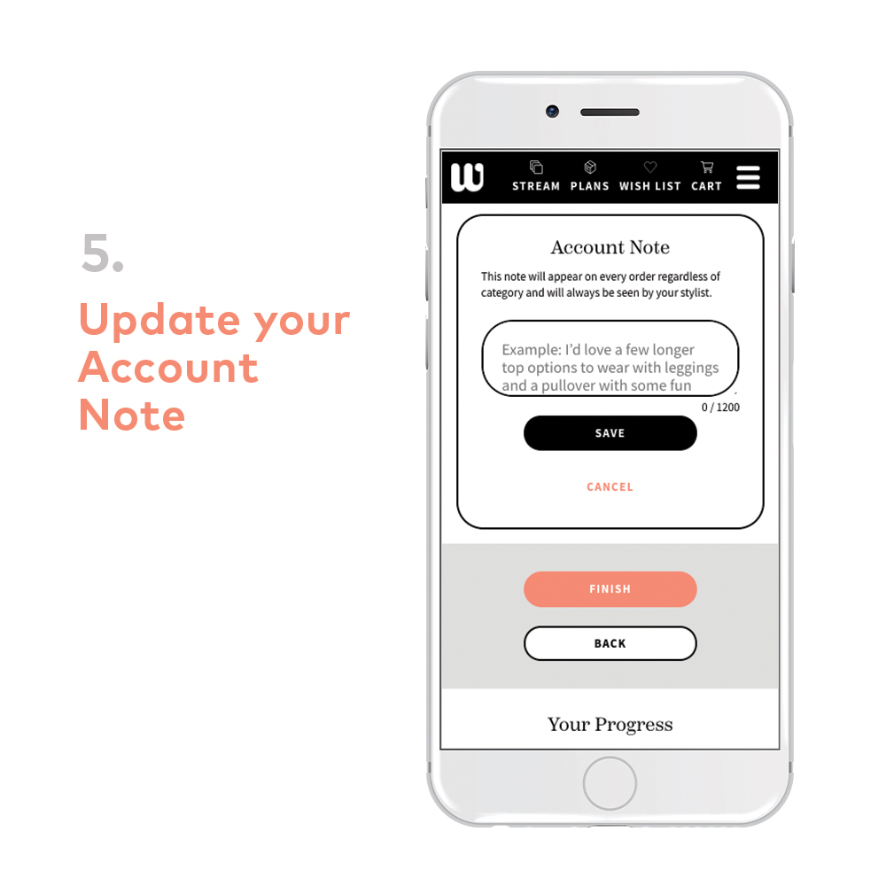 Wantable quiz: account note to stylist