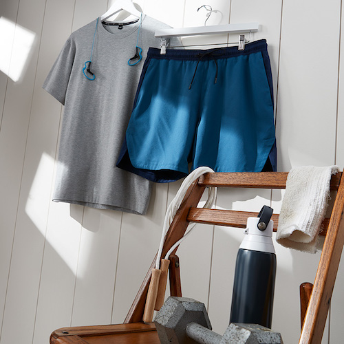 Men's Workout Outfit - Grey Light-weight Shirt with Blue Running Shorts - Men's Exercise Subscription - Wantable