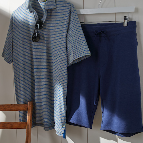Men's Golf Outfit - Striped Polo and Blue Shorts - Father's Day Gift Idea