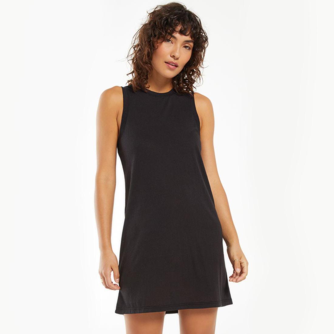Women in a black Z-Supply mini dress - Women's Dress Subscription