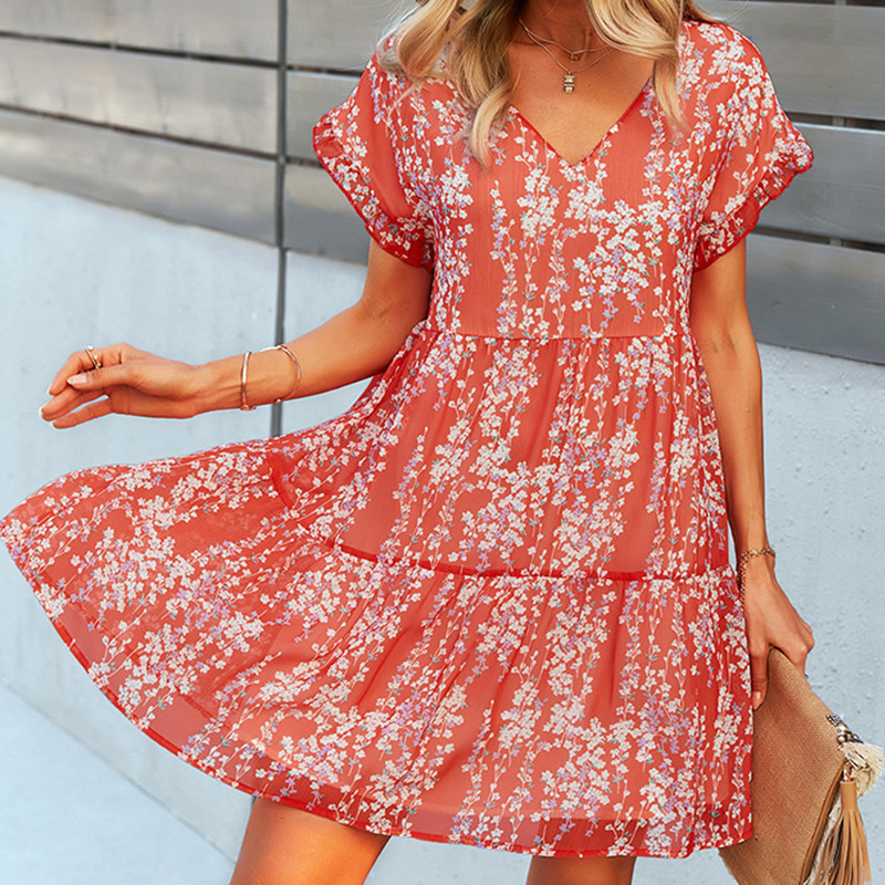 Girl in sunglasses and a flowy baby doll dress by Mountain Valley Trading - blush beauty Pantone 2021 color of the year