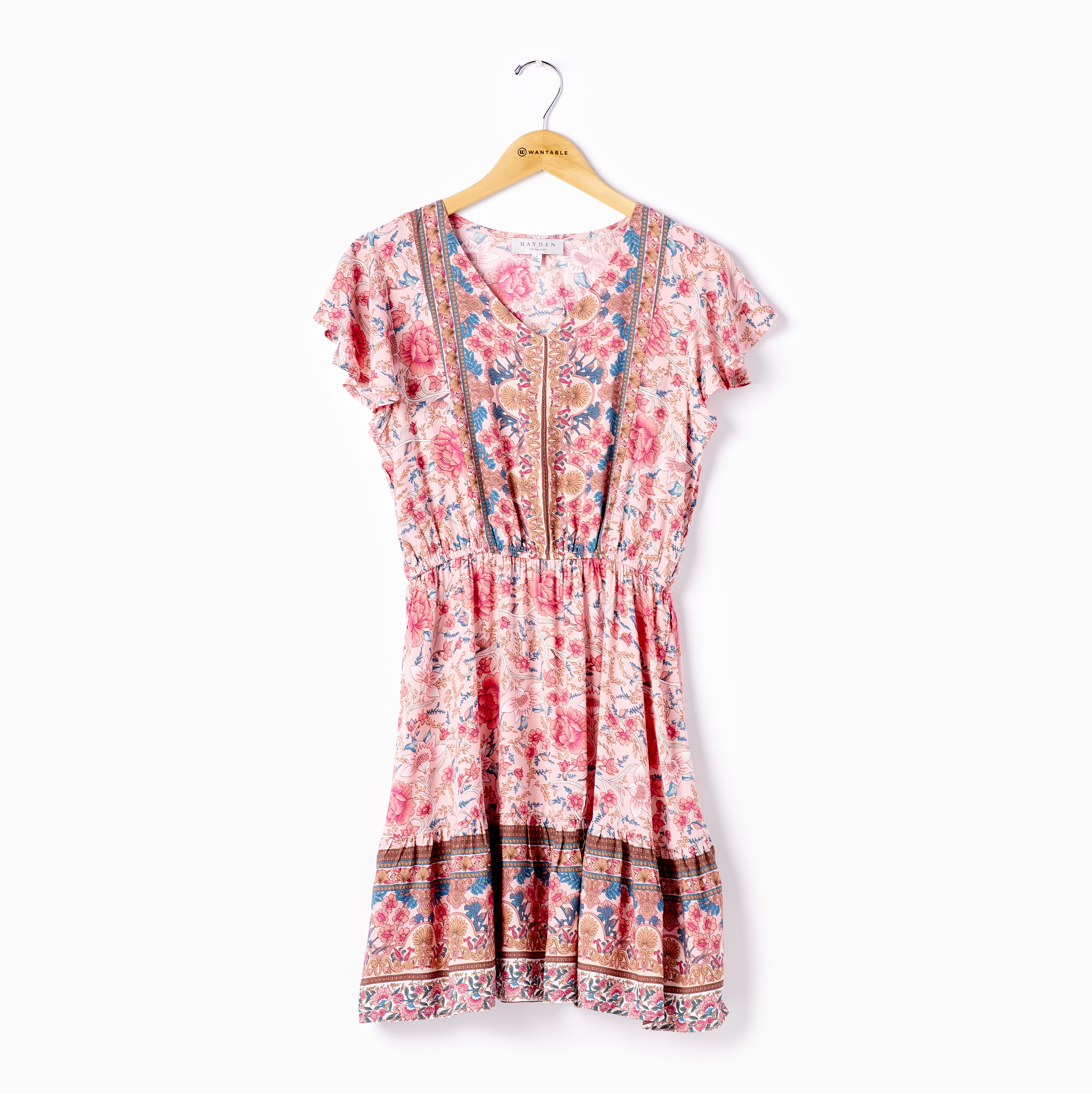 Red Boho Fit and Flare Mini Dress with Flutter Sleeves on a Hanger- Casual Summer Dress by Hayden Los Angeles