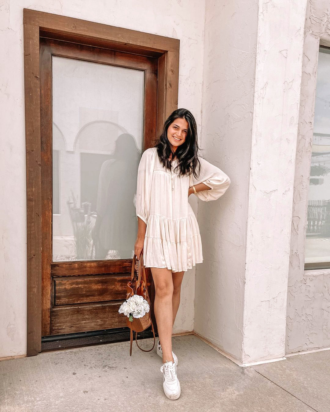 Girl in Flowy Cream Mini Dress with Sneakers - @larissainokc in a Gentle Fawn Casual Mini Dress from Wantable