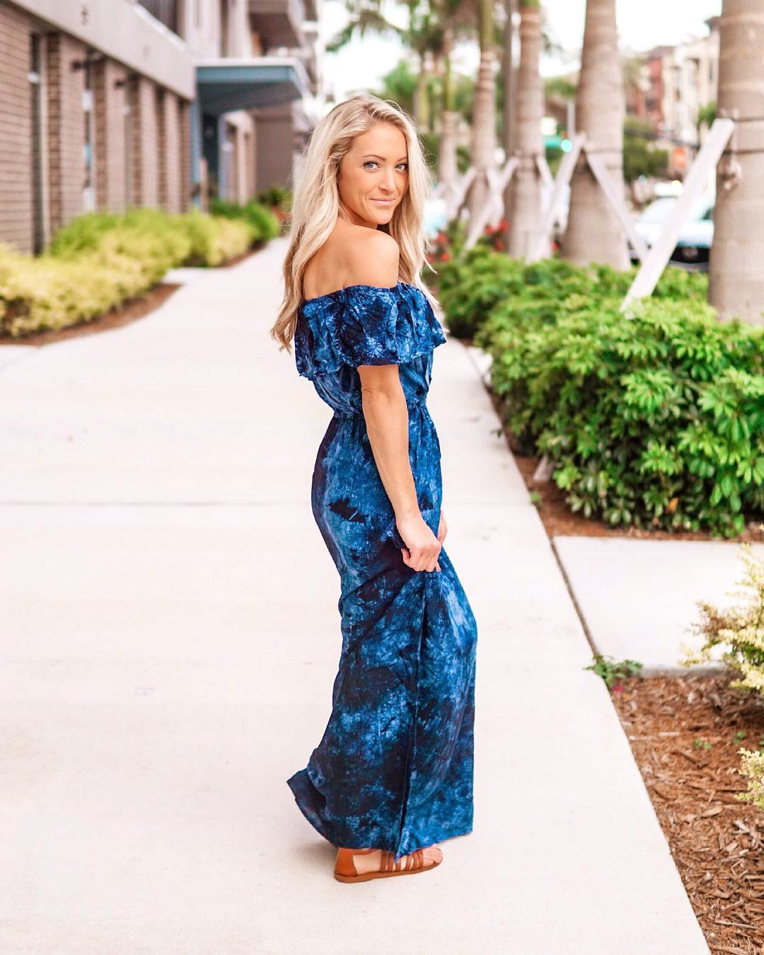 Woman in blue tie-dye maxi dress - Casual summer dress from women's fashion subscription box