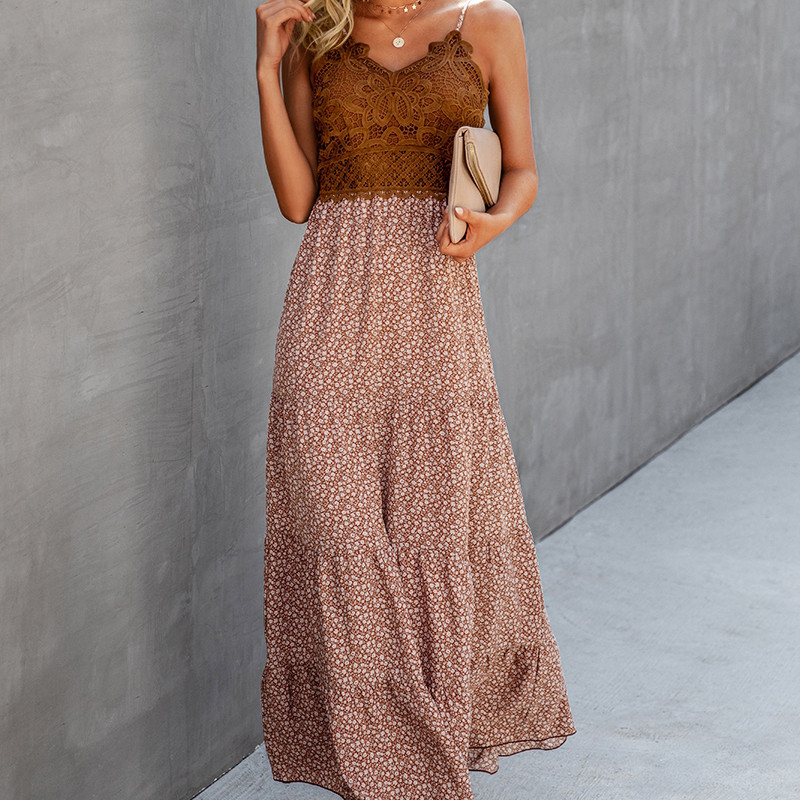Woman in a brown floral and lace flowy maxi dress. Casual summer dress from Mountain Valley Trading
