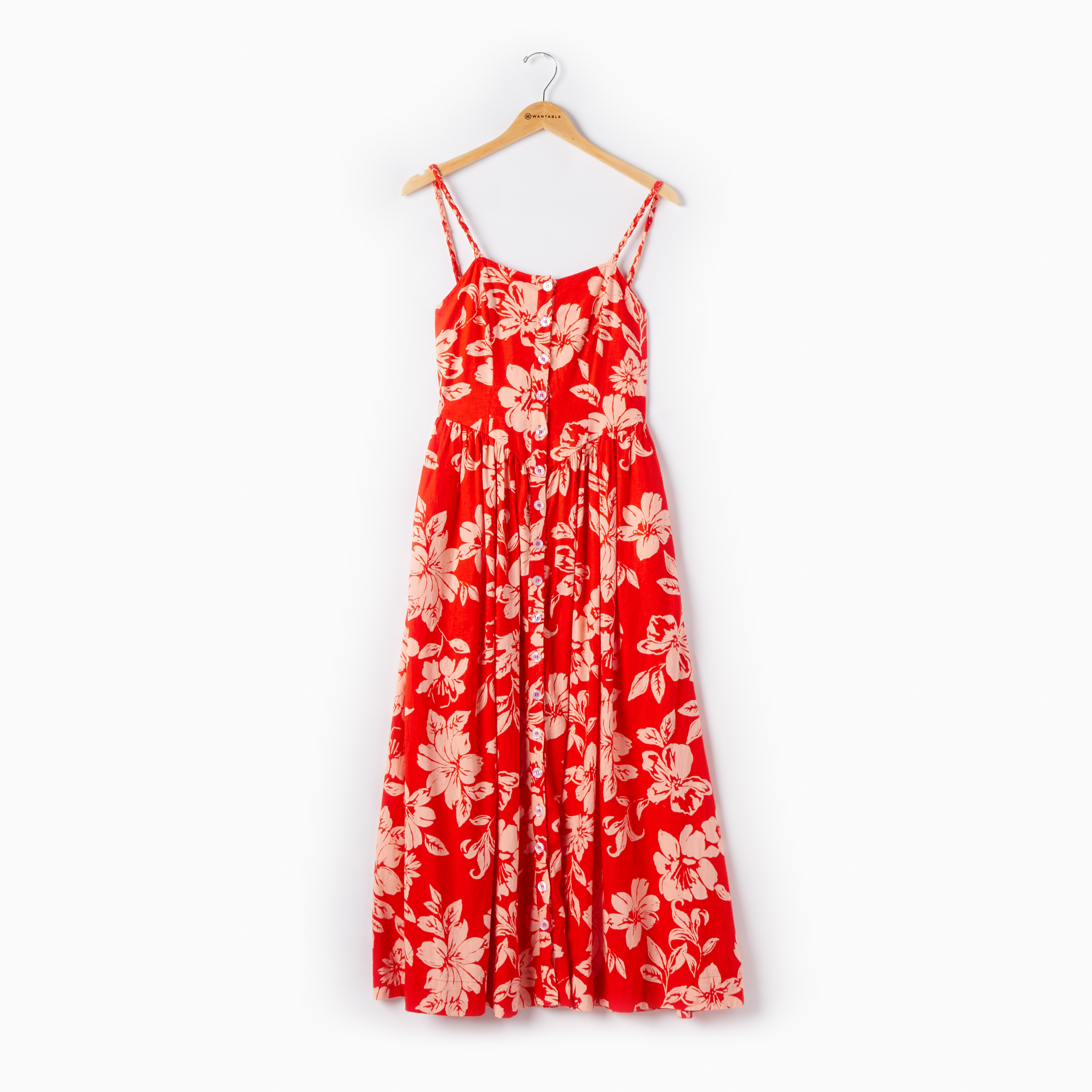 Red floral Free People sundress on a hanger - causal summer dress